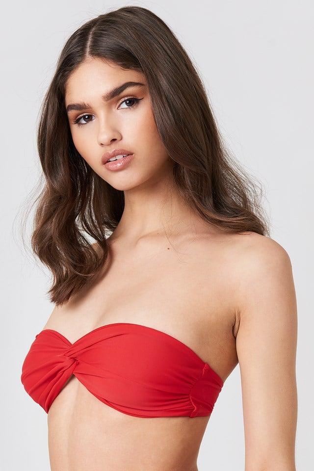 Bandeau Knot Bikini Top Red