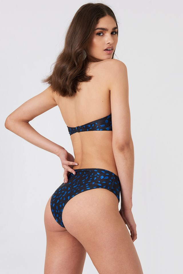 Bandeau Knot Bikini Top Black/Blue Pattern