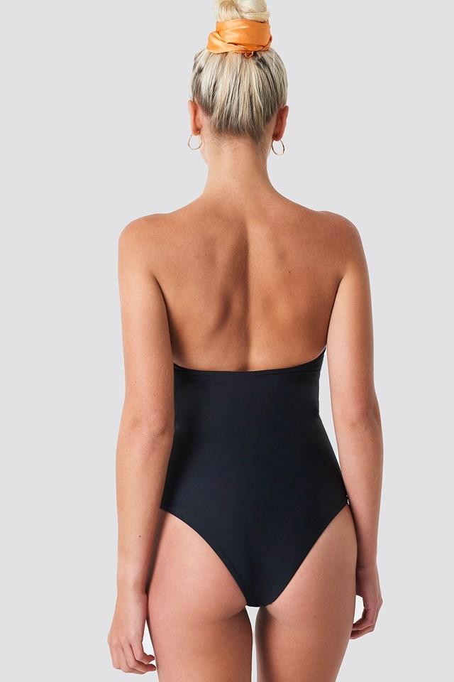 Bandeau Knot Front Swimsuit Black