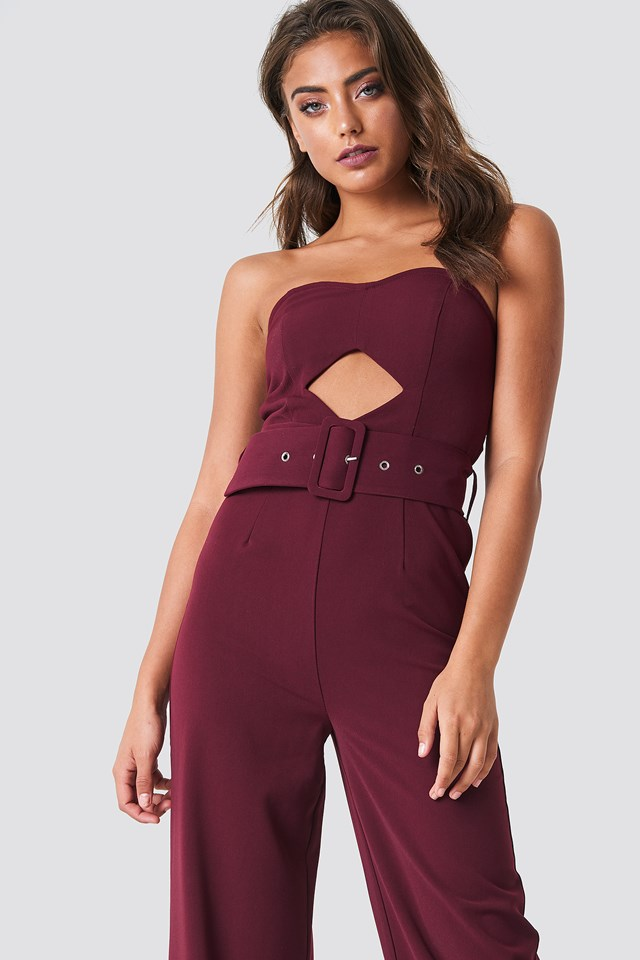 Bandeau Top Belted Jumpsuit NA-KD Party