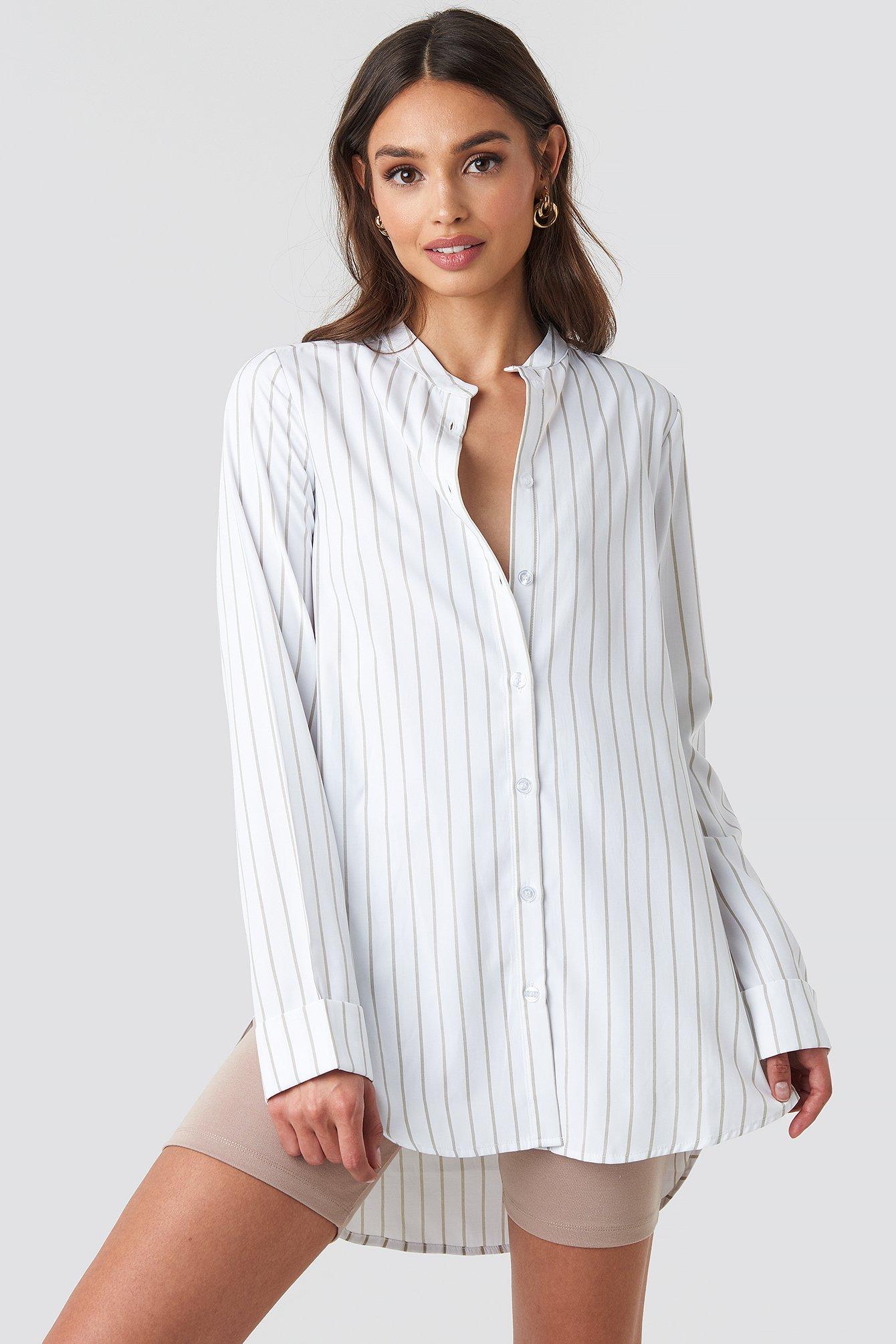 Banded Collar Striped Long Shirt NA-KD.COM