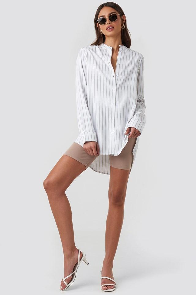 Banded Collar Striped Long Shirt Beige/White Stripe