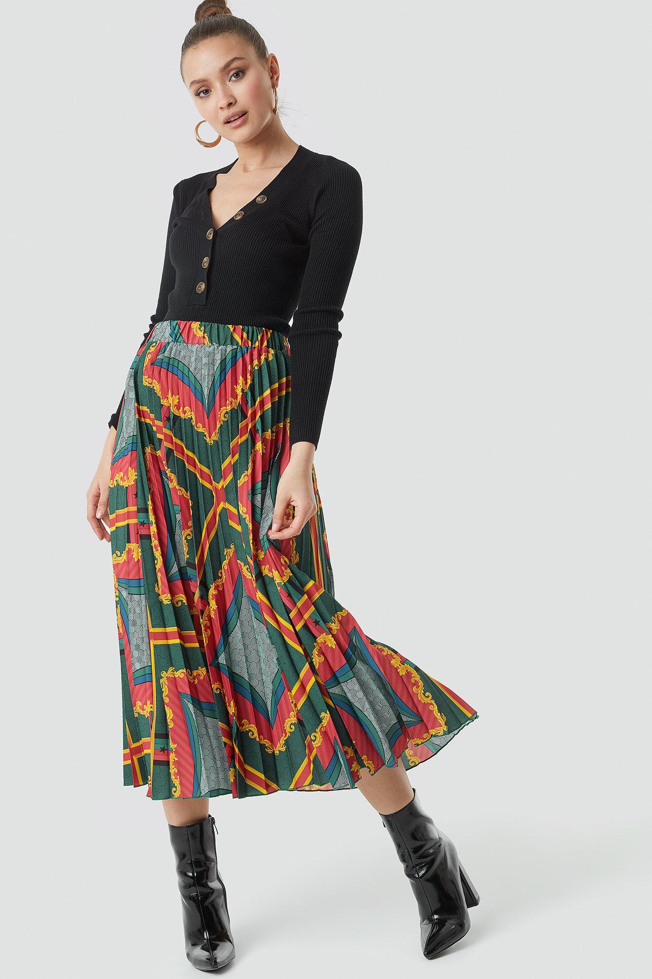 na-kd -  Baroque Print Pleated Midi Skirt - Multicolor