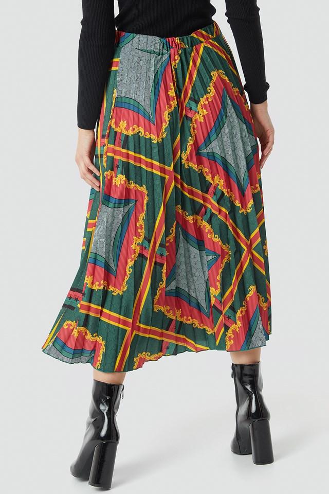 Baroque Print Pleated Midi Skirt Multicolor