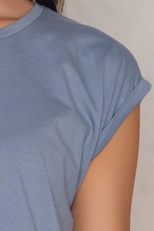 Basic Cap Sleeve Top Dusty Blue