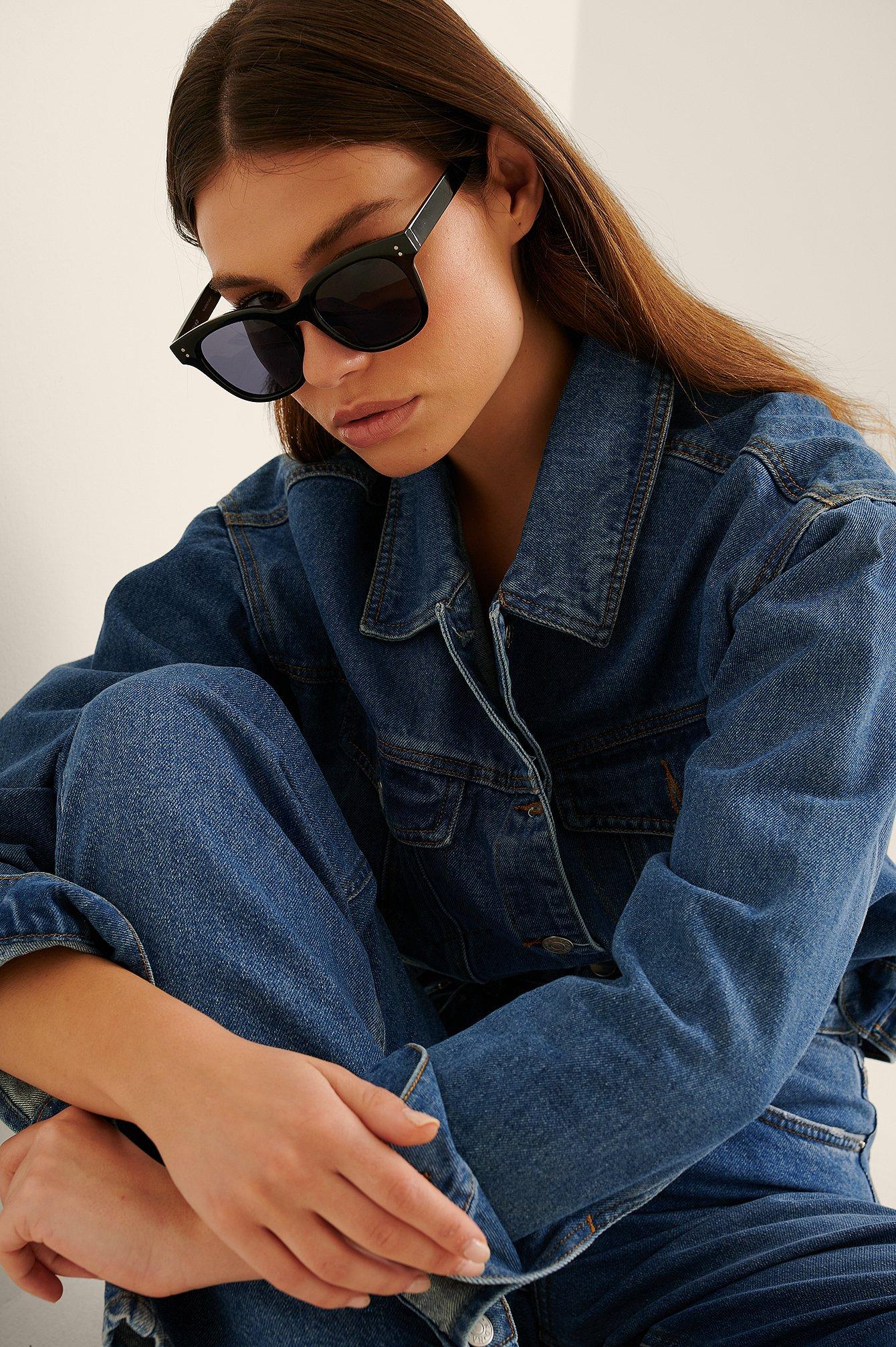 na-kd accessories -  Basic Große Eckige Sonnenbrille - Black
