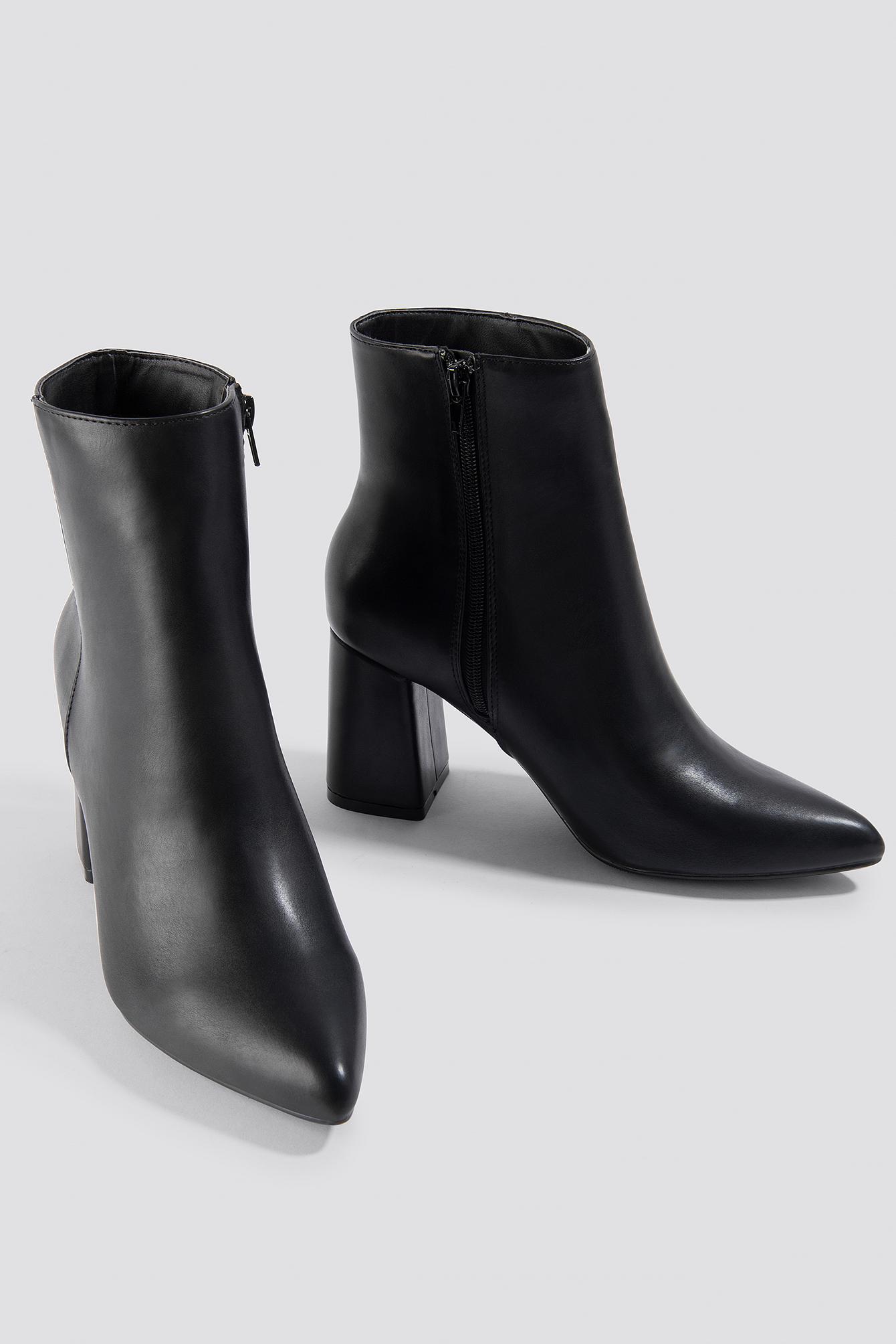 Basic Block Heel Booties NA-KD.COM