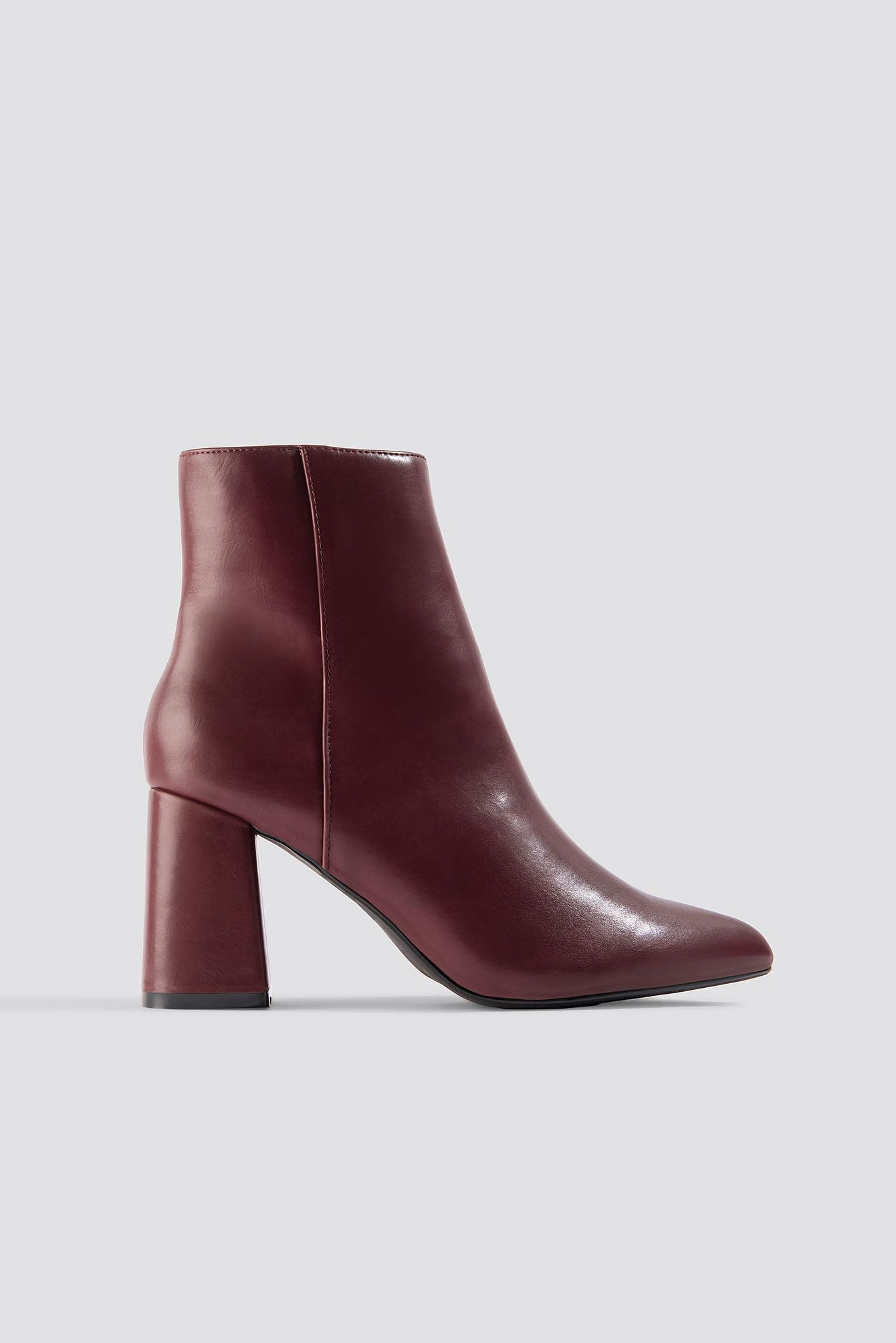 Na-kd Basic Block Heel Booties - Red In Burgundy