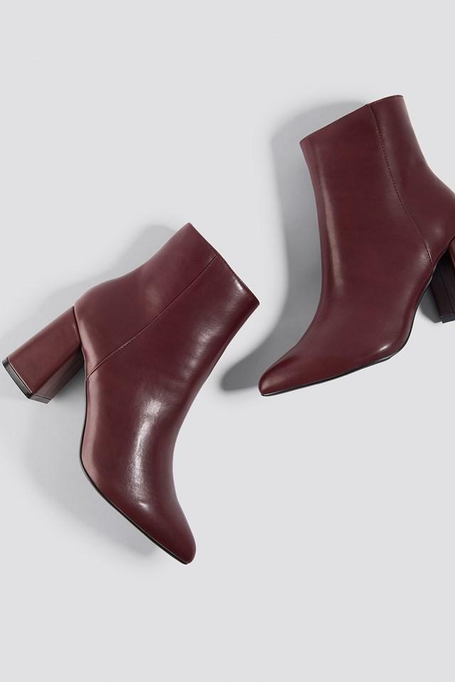 Basic Block Heel Booties Burgundy