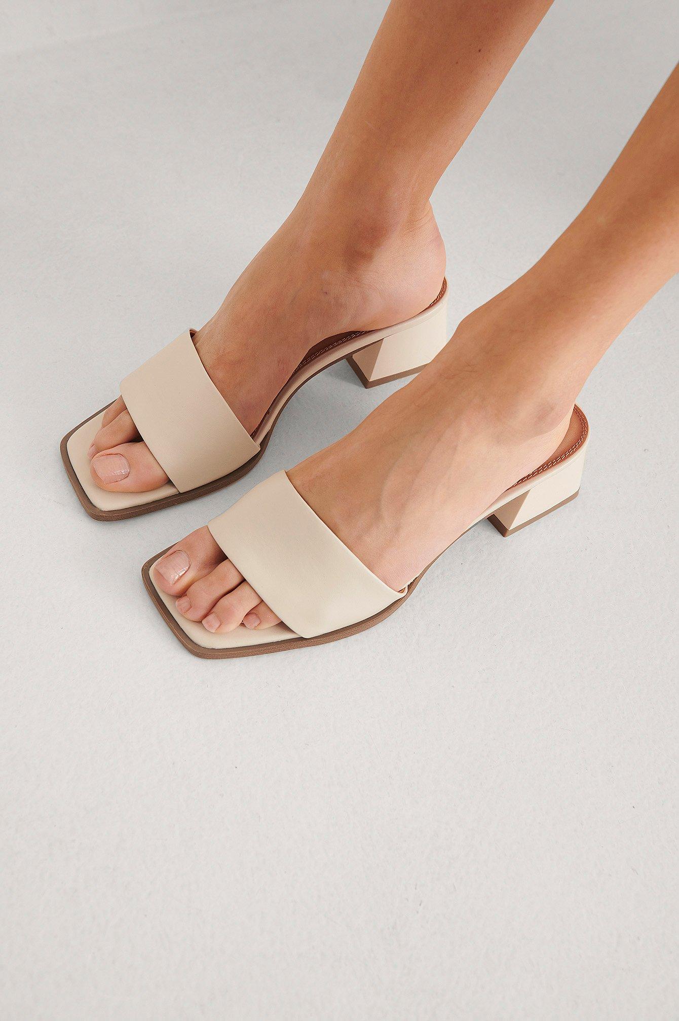 NA-KD Shoes Tolppakorkoiset Basic-Pistokkaat - Beige