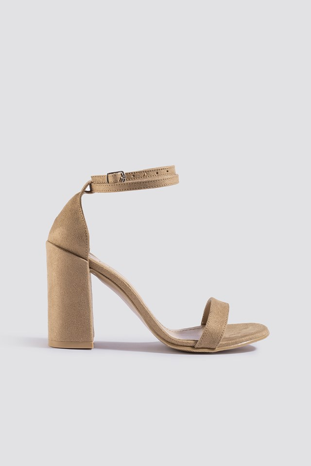 Basic Block Heels Beige
