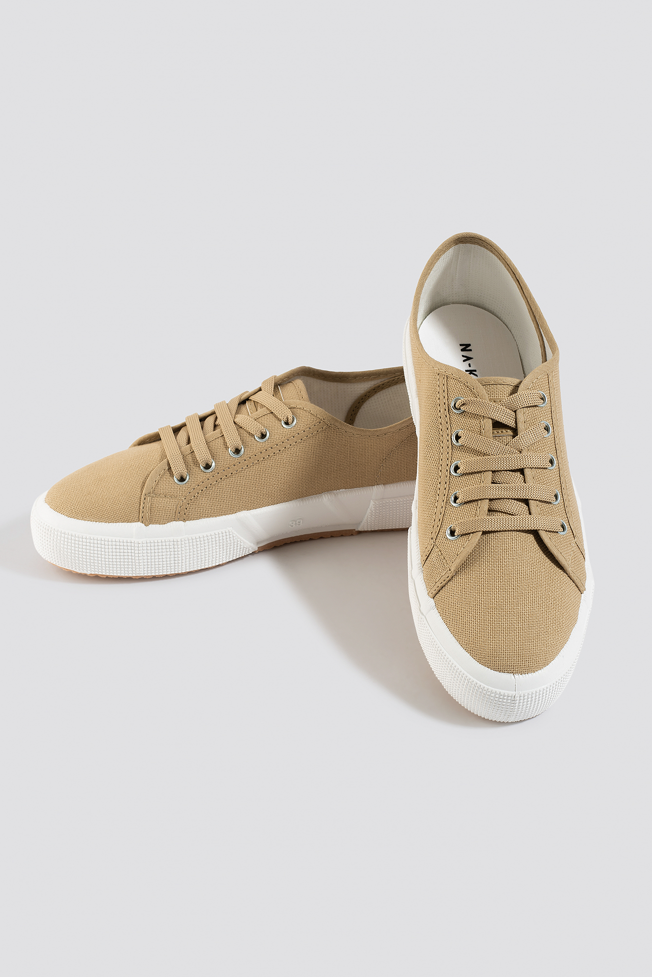 NA-KD Shoes Basic Canvas Sneakers - Beige