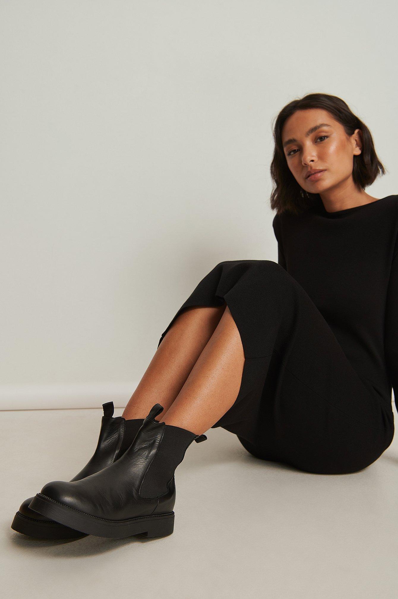 na-kd shoes -  Chelsea Boots aus Leder - Black
