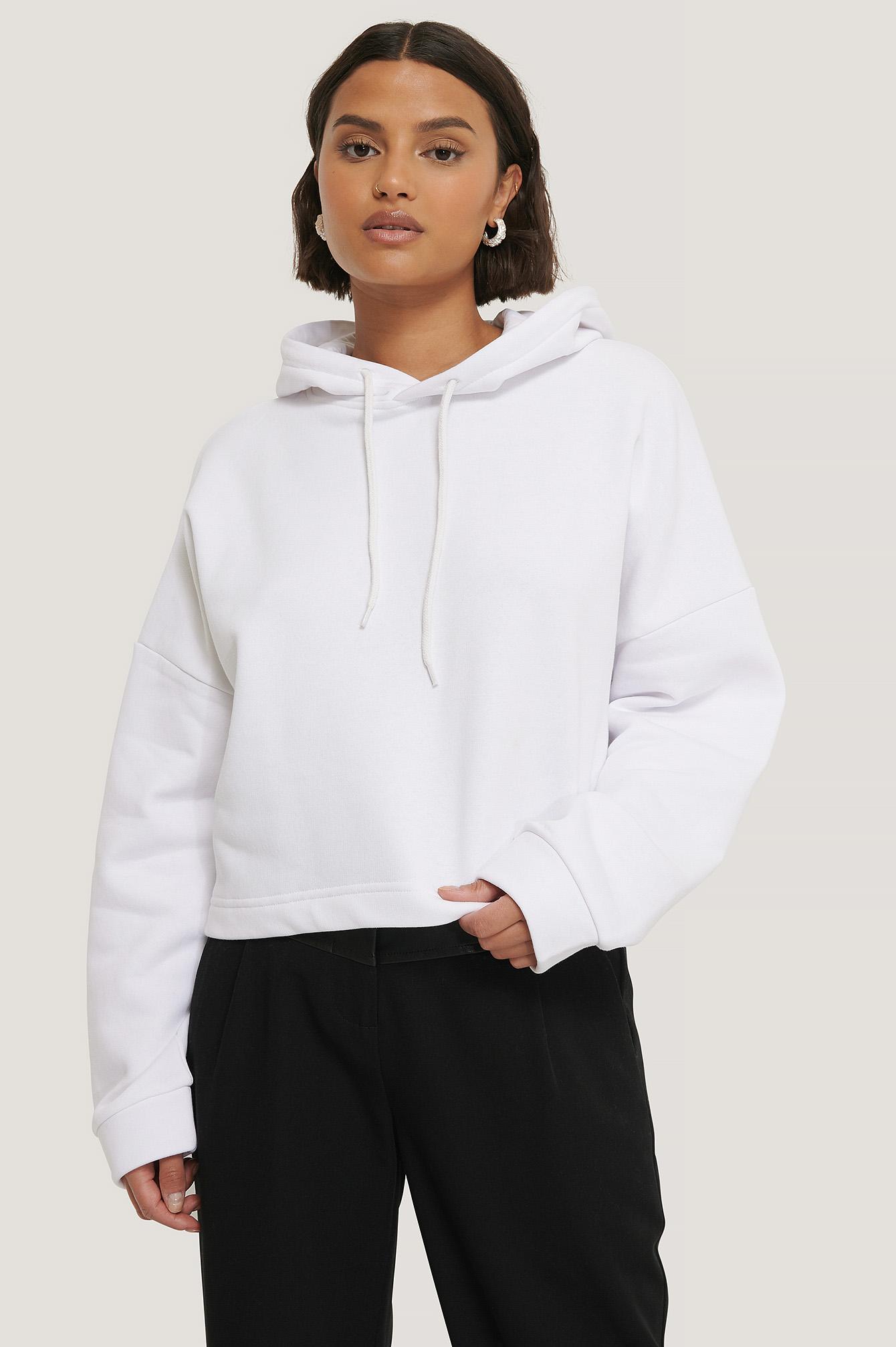 NA-KD Reborn Organisch Schlichter Cropped Hoodie - White | Bekleidung > Sweatshirts & -jacken > Hoodies | NA-KD Reborn