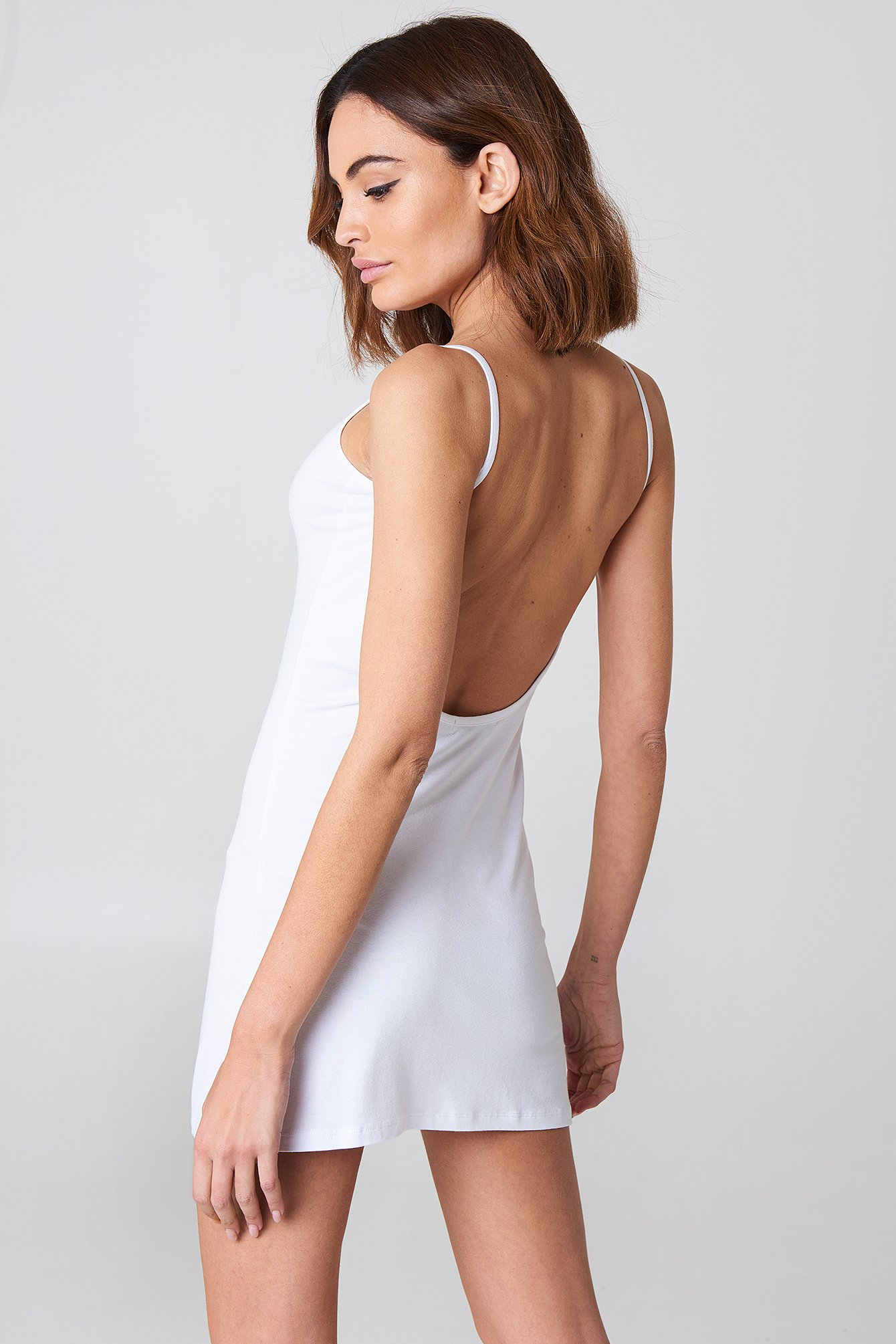 White NA-KD Basic Deep Back Dress