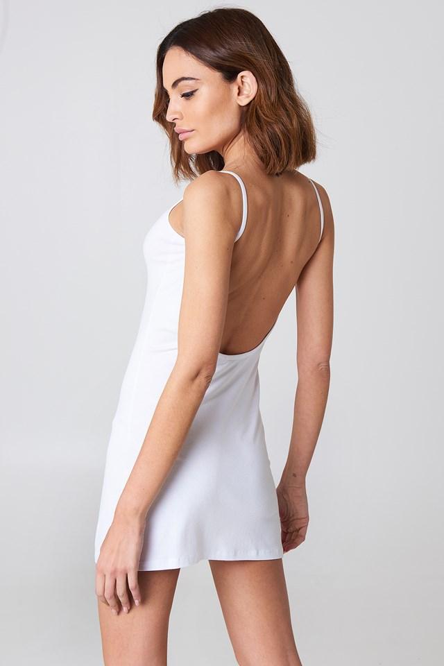NA-KD Basic Deep Back Dress White
