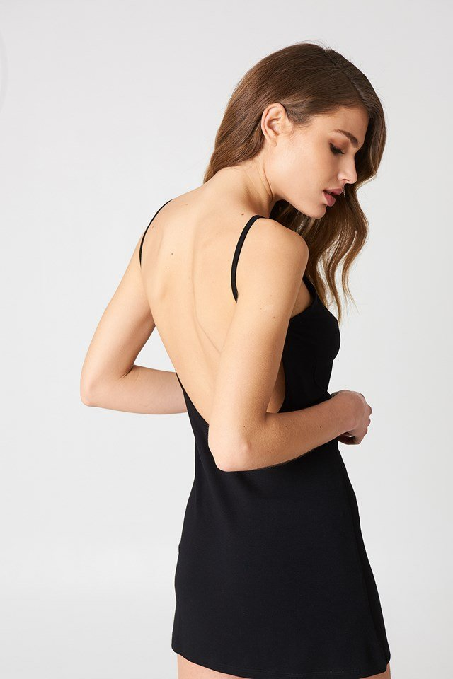 NA-KD Basic Deep Back Dress Black