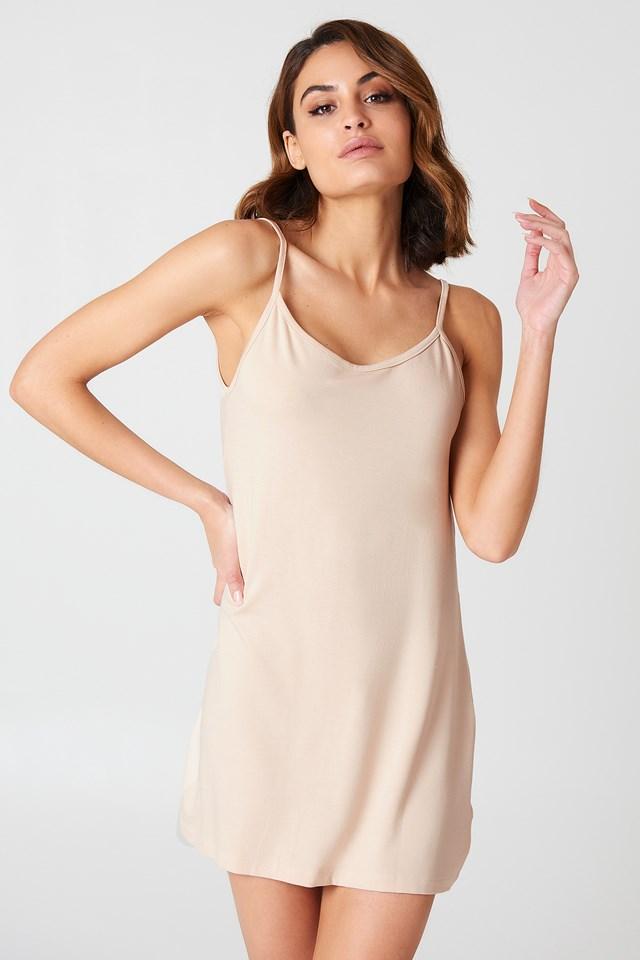 NA-KD Basic Deep Back Dress Nude