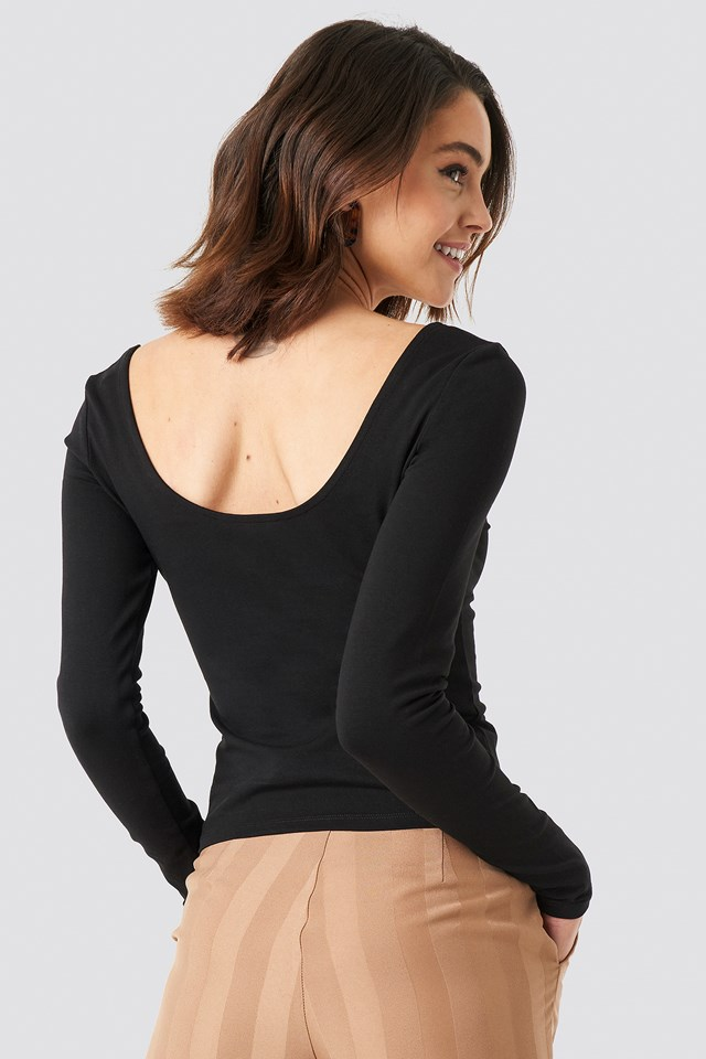 Basic Fitted LS Top Black