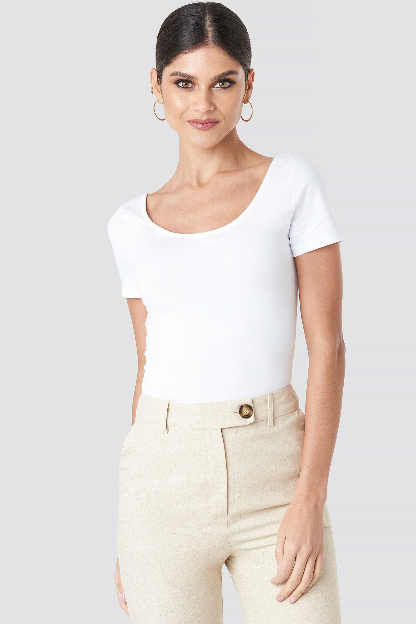 Basic Fitted Short Sleeve Top NA-KD.COM