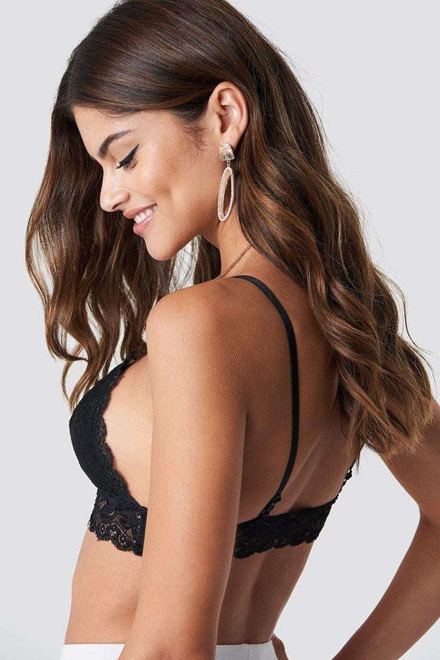 Basic Floral Lace Bra Black