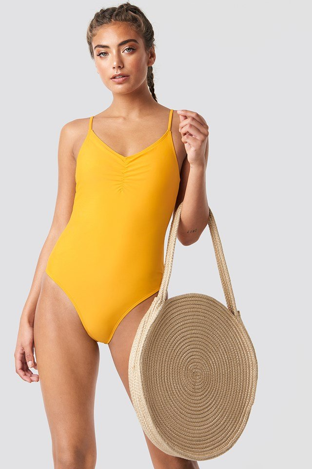 Basic Front Ruched Swimsuit Citrus