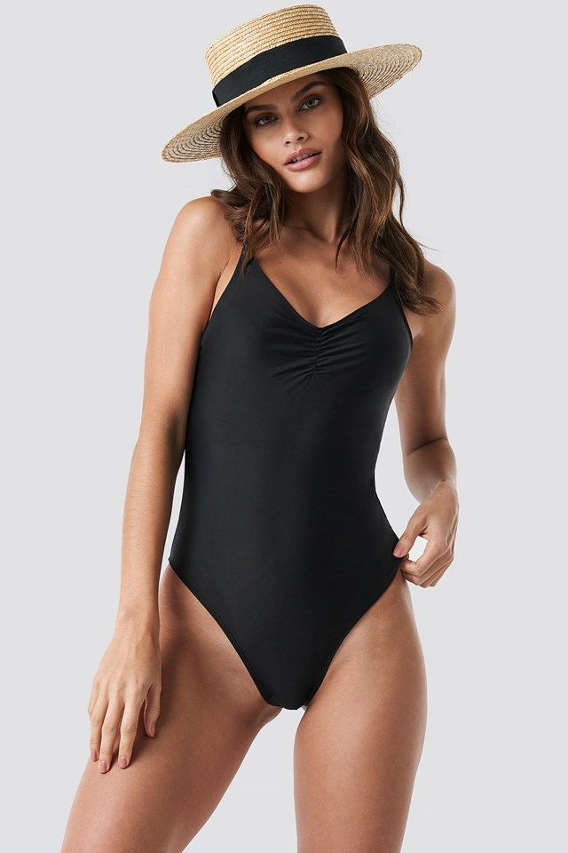 Basic Front Ruched Swimsuit Black