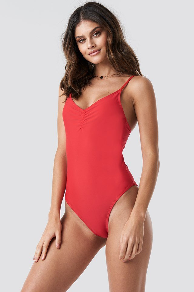Basic Front Ruched Swimsuit Red