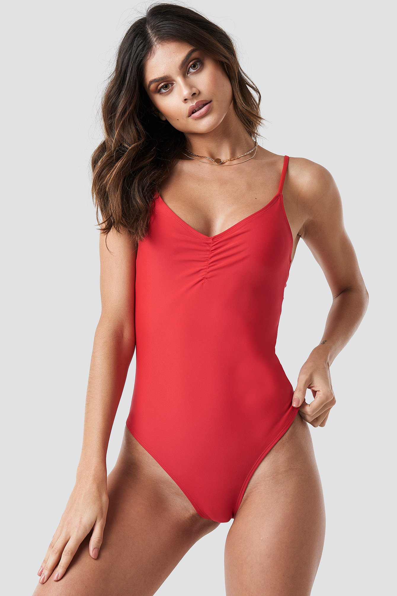 Basic Front Ruched Swimsuit NA-KD.COM