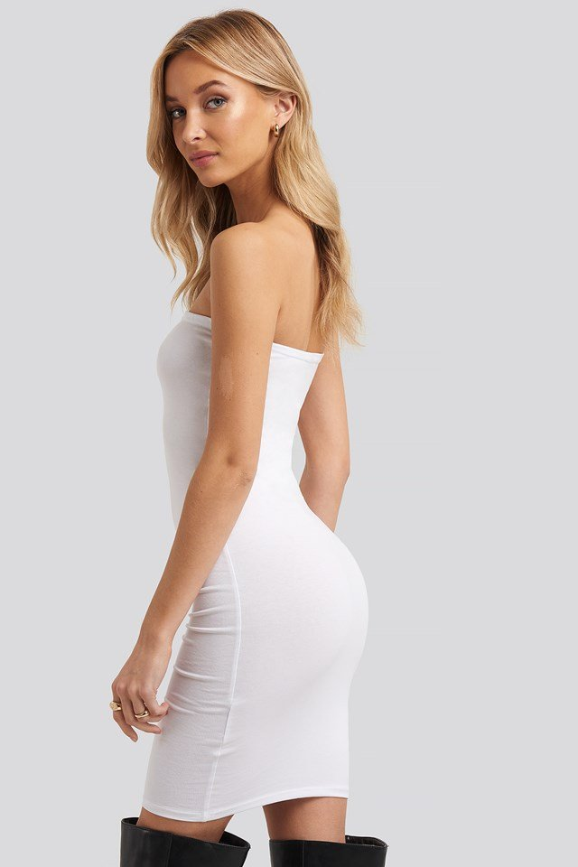 Basic Jersey Bandeau Dress White