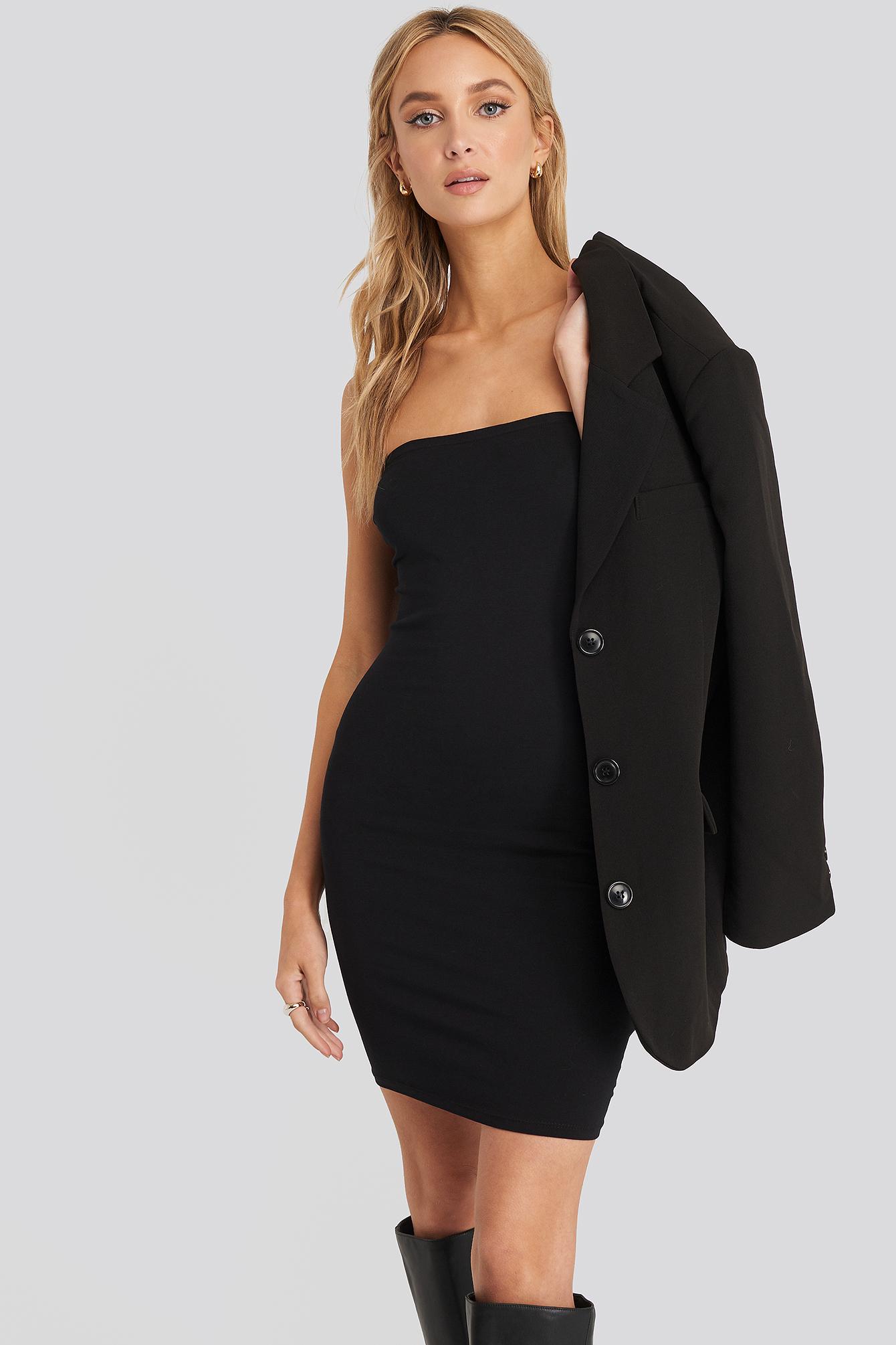 na-kd basic -  Basic Jersey Bandeau Dress - Black