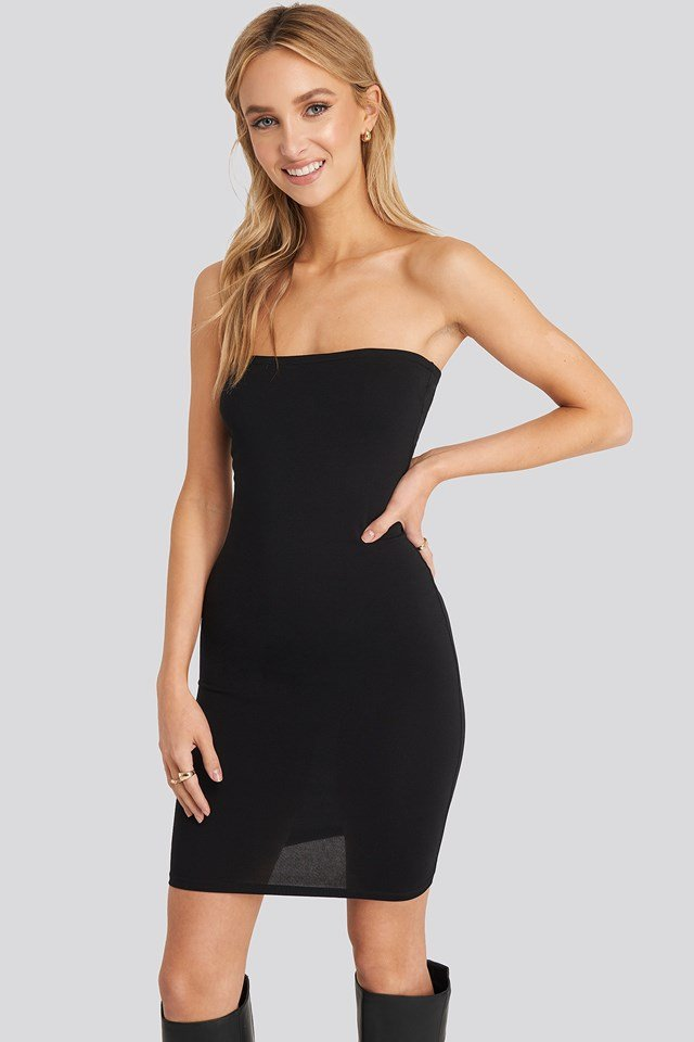 Basic Jersey Bandeau Dress Black