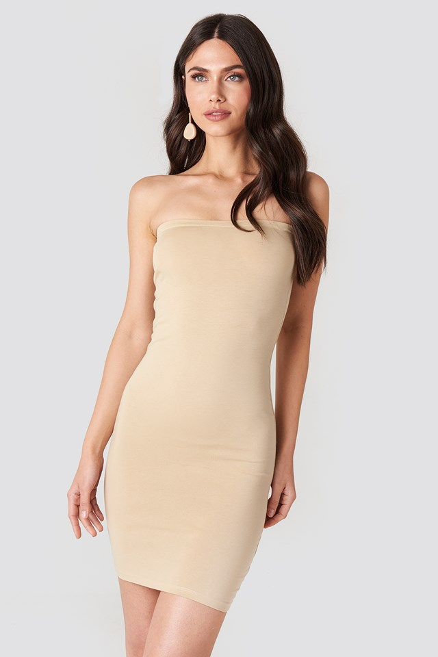 Basic Jersey Bandeau Dress Nude