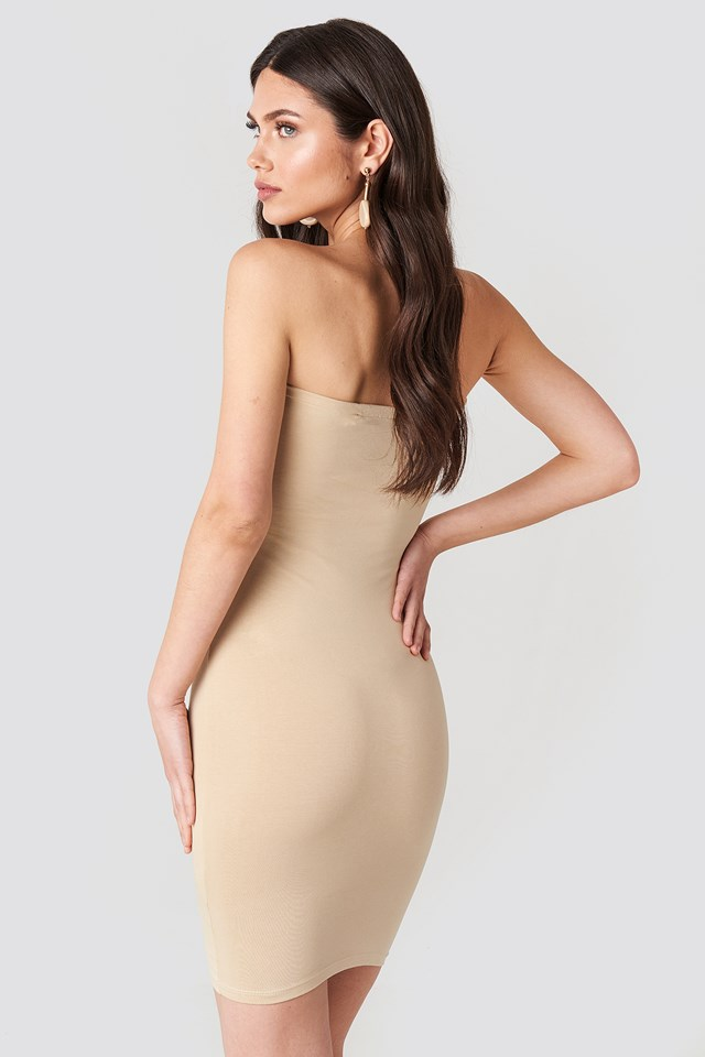 Basic Jersey Bandeau Dress Nude