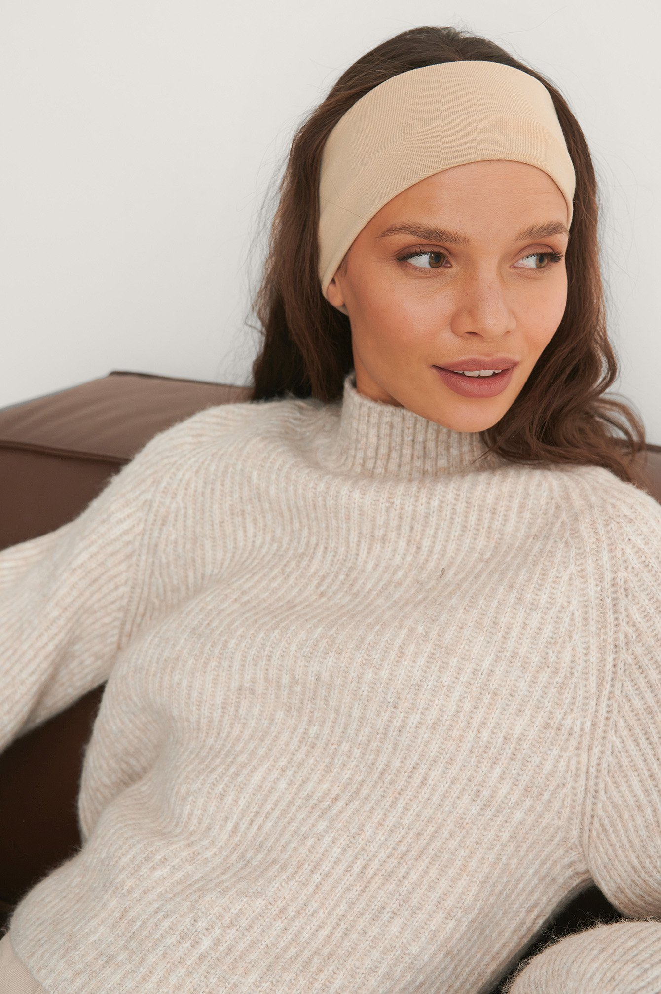 Beige Basic Jersey Headband