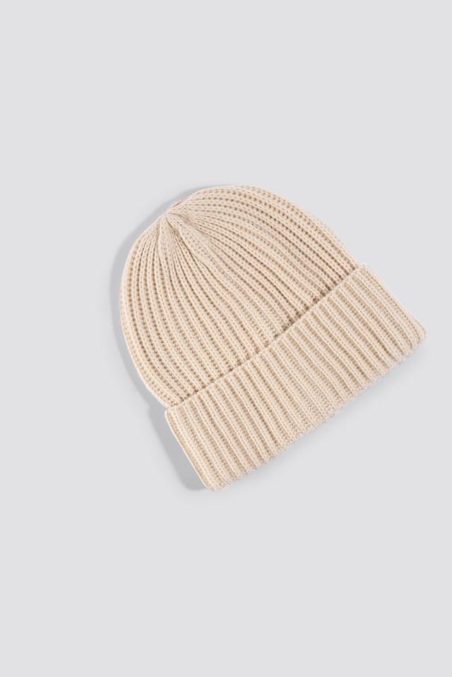 Basic Knitted Beanie Beige