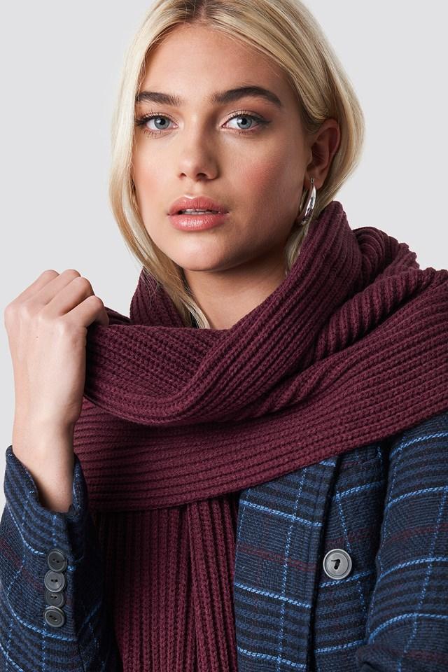 Basic Knitted Scarf Burgundy