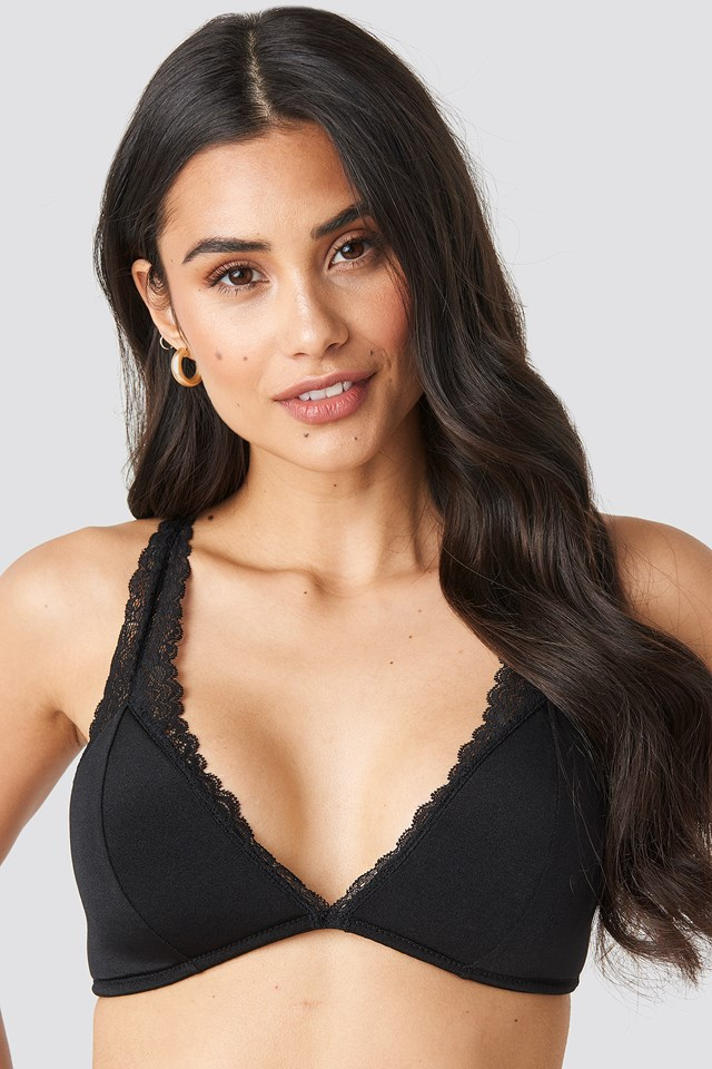 Basic Lace Micro Bralette Black