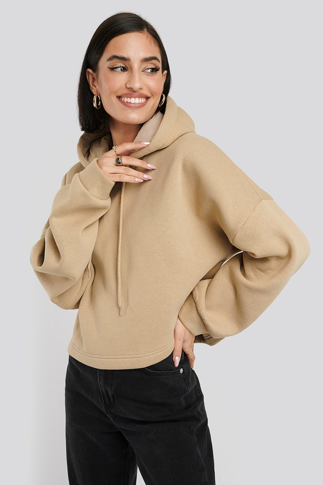 Basic Oversized Cropped Hoodie Dusty Light Beige
