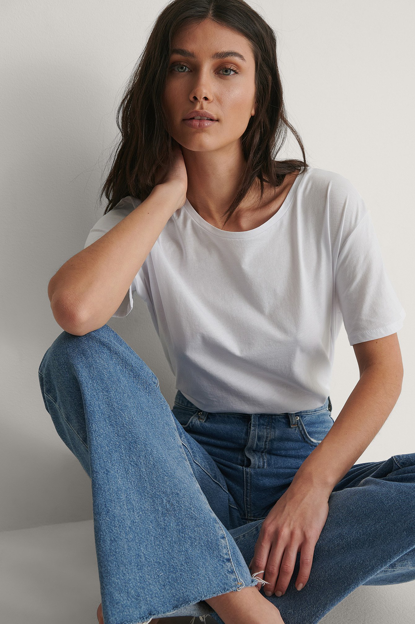 White Basic Oversized T-Skjorte