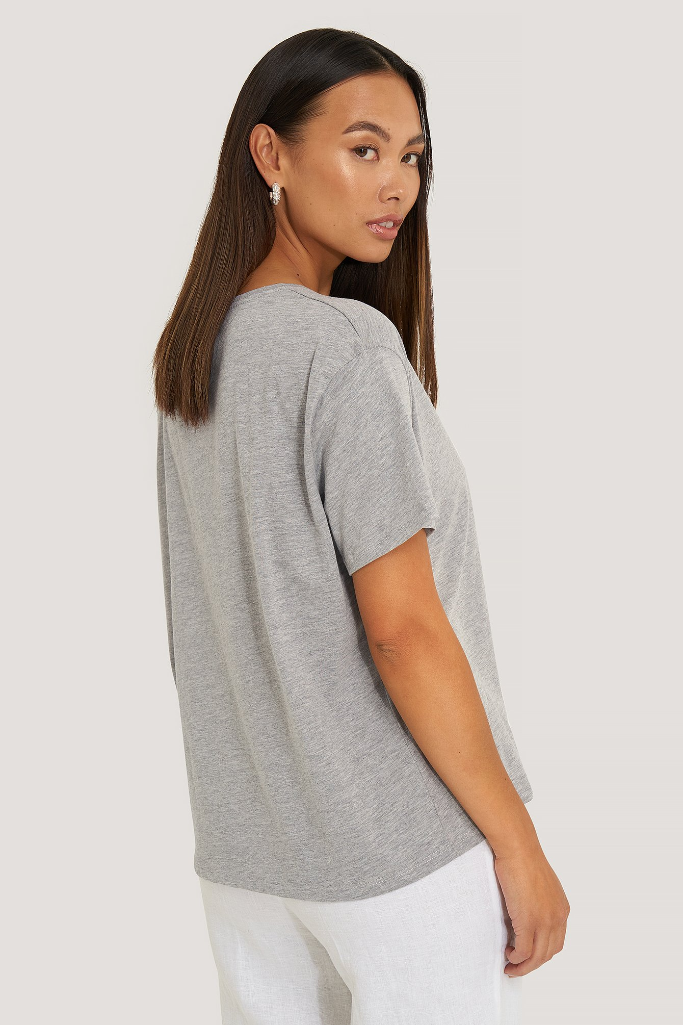 Grey Melange Basic Oversized Tee