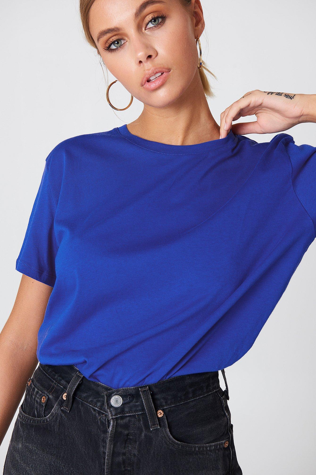na-kd basic -  Basic Oversized Tee - Blue