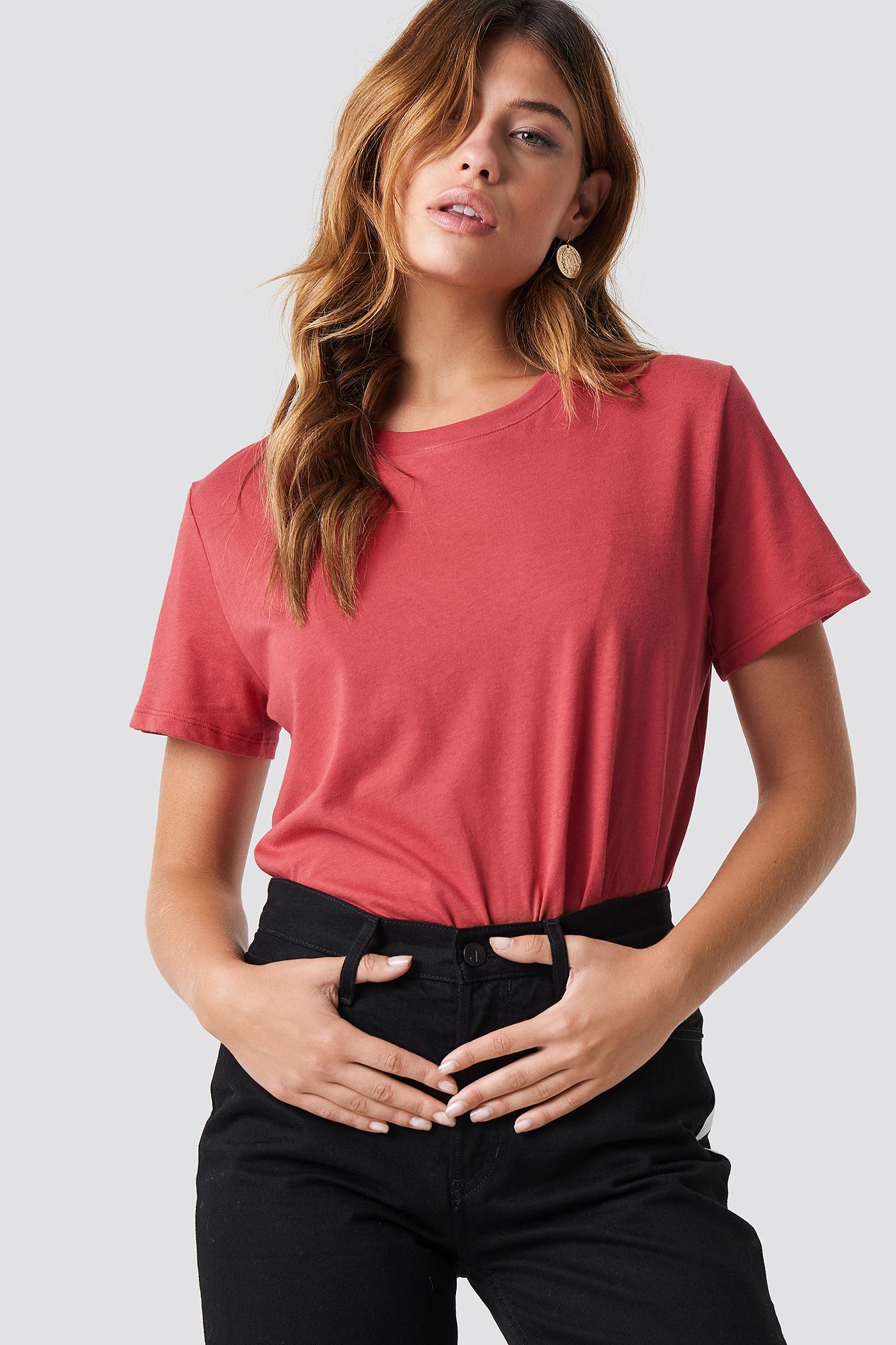 NA-KD Basic Basis Oversize T-Shirt - Red