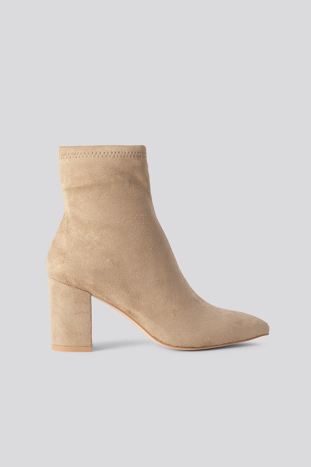 Basic Pointy Block Heel Booties Beige
