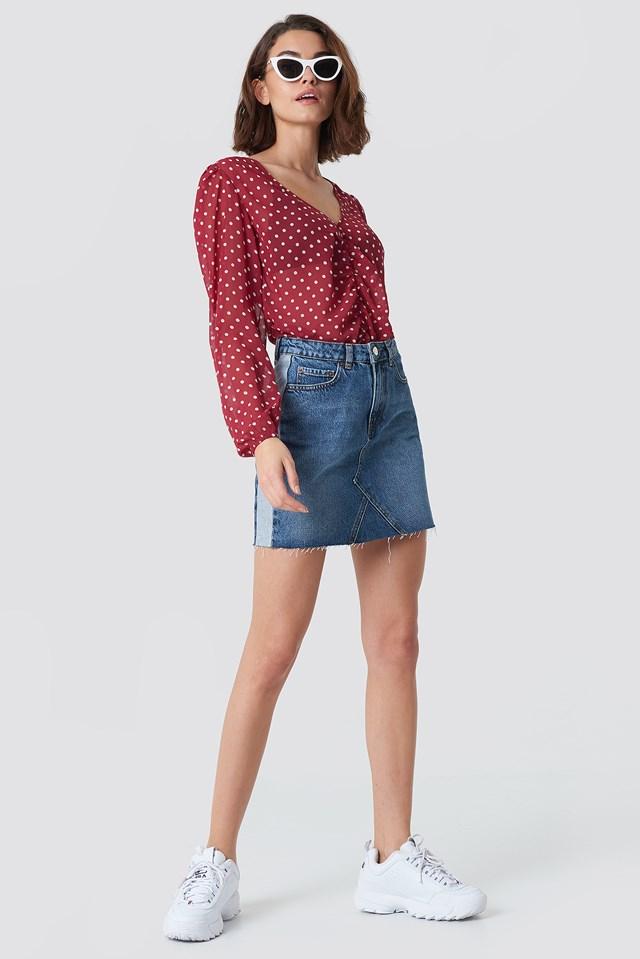 Basic Raw Hem Side Panel Skirt Mid Blue