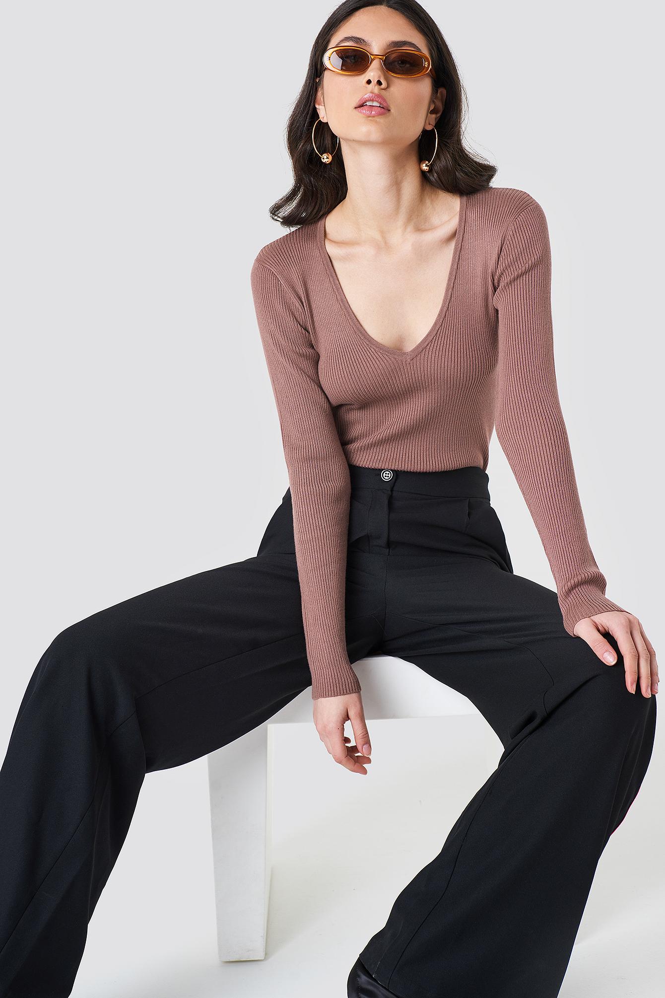 Basic Ribbed Sweater NA-KD.COM