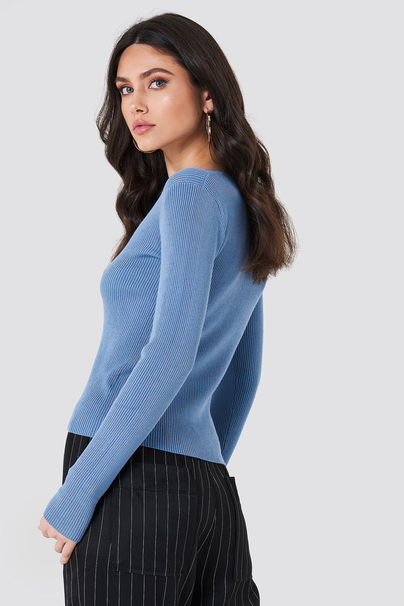 Basic Ribbed Sweater NA-KD.COM
