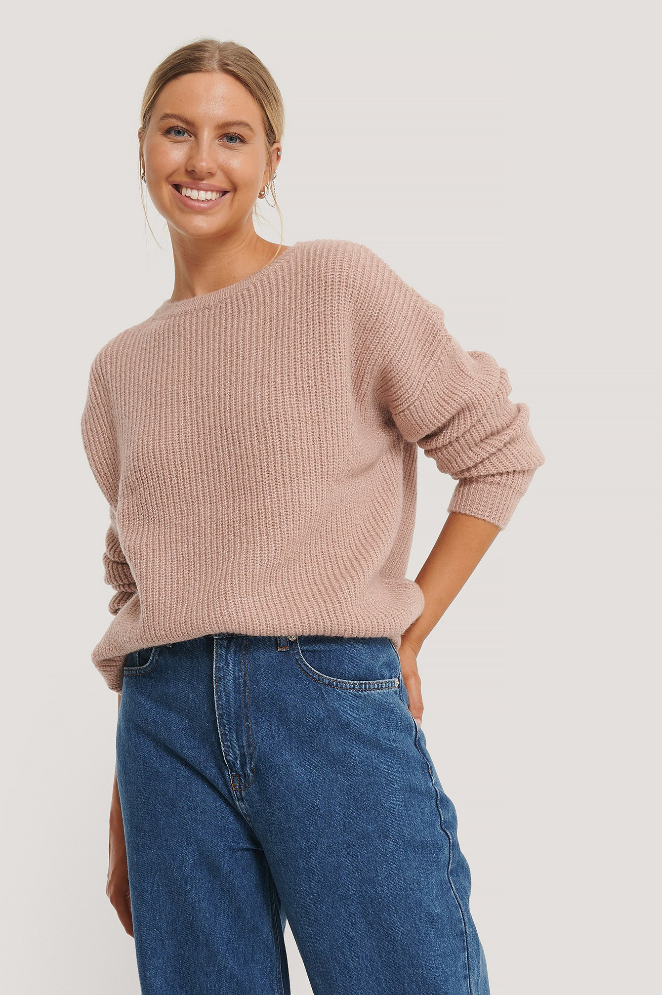 Dusty Pink Basic Round Neck Knitted Sweater