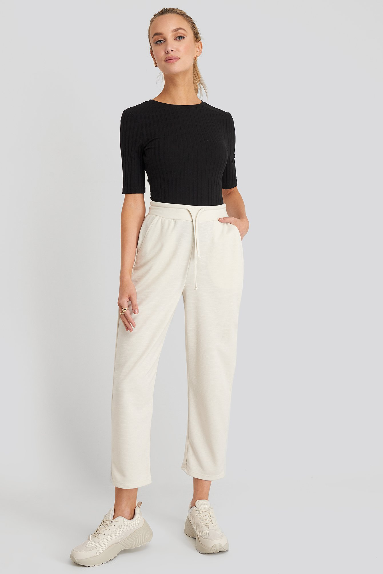 Dusty Light Beige Basic Slip Pants