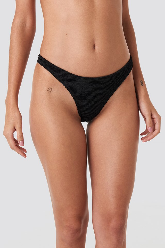 Basic Smocked Bikini Bottom Black
